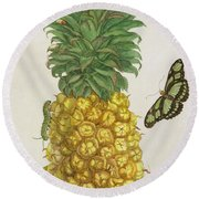 Pineapple With Caterpillar And Butterflies Round Beach Towel