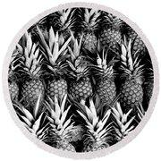 Pineapples In B/w Round Beach Towel