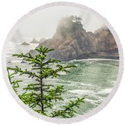 Pines Above The Sea #1 Round Beach Towel