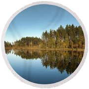 Pines And Reflection Round Beach Towel