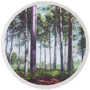 Pines In New Forest Shade Round Beach Towel