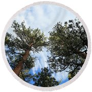 Pines In The Sky Round Beach Towel