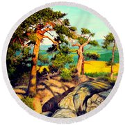 Pines On The Rocks Round Beach Towel