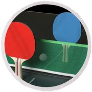 Ping Pong Paddles On Table, Standing Upright Round Beach Towel