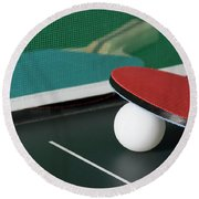 Ping Pong Paddles On Table With Net Round Beach Towel
