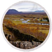 Pingvellir National Park Iceland Round Beach Towel