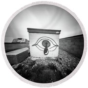 Round Beach Towel featuring the photograph Pinhole Crying Eye by Will Gudgeon