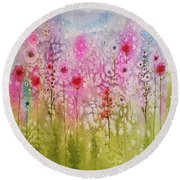 Pink Abstract Round Beach Towel
