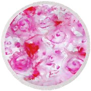 Pink Abstract Floral Round Beach Towel
