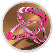 Pink Abstract On Gold Round Beach Towel