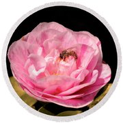 Pink And Bee Round Beach Towel