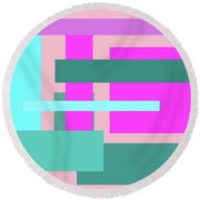 Pink And Blue Blocks Abstract Round Beach Towel