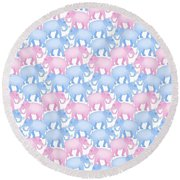 Pink And Blue Elephant Pattern Round Beach Towel