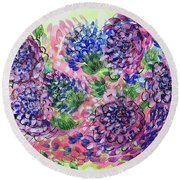 Pink And Blue Flower Flurry Round Beach Towel