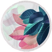 Pink And Blue Leaves Round Beach Towel