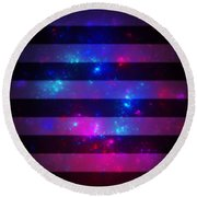 Pink And Blue Striped Galaxy Round Beach Towel