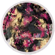 Pink And Gold Merge Round Beach Towel