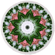 Round Beach Towel featuring the digital art Pink And Green Floral by Shawna Rowe