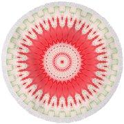 Pink And Green Mandala Fractal 001 Round Beach Towel