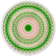 Pink And Green Mandala Fractal 002 Round Beach Towel