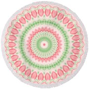 Pink And Green Mandala Fractal 003 Round Beach Towel
