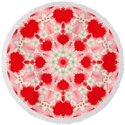 Pink And Green Watercolor Snowflake Fractal Round Beach Towel