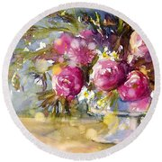 Pink And Navy Round Beach Towel by Judith Levins