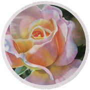 Pink And Peach Rose Bud Round Beach Towel