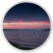Pink And Purple Afterglow Round Beach Towel