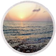 Round Beach Towel featuring the photograph Pink And Purple Sunset Over Grand Cayman by Amy McDaniel