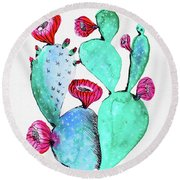 Pink And Teal Cactus Round Beach Towel