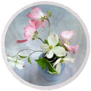 Pink And White Dogwood Still Round Beach Towel