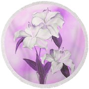 Round Beach Towel featuring the mixed media Pink And White by Elizabeth Lock