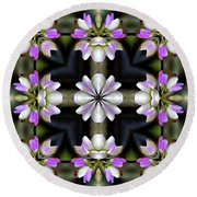Pink And White Flowers Abstract Round Beach Towel