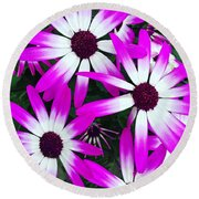 Pink And White Flowers Round Beach Towel by Vizual Studio