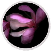 Pink And White Magnolia In Silhouette Round Beach Towel