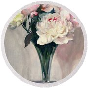 Pink And White Peonies In Glass Trumpet Vase Round Beach Towel