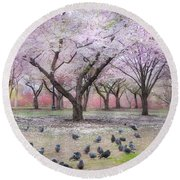 Round Beach Towel featuring the photograph Pink And White Spring Blossoms - Boston Common by Joann Vitali