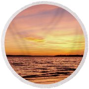Pink And Yellow Sunset Round Beach Towel by Doug Long