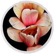 Pink And Yellow Tulips Round Beach Towel