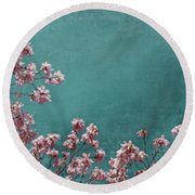 Pink Apple Blossoms On Teal Blue Green Sky Round Beach Towel