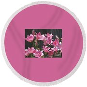 Pink Asiatic Lilies Round Beach Towel