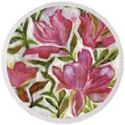 Pink Azaleas Round Beach Towel by Julie Maas