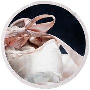 Pink Ballerina Pointe Shoes Round Beach Towel