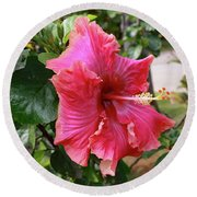 Pink Beauty Round Beach Towel by Mary Haber