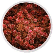 Pink Bionica Roses Round Beach Towel