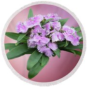 Pink Blooming Plant Round Beach Towel