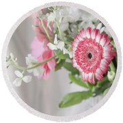 Round Beach Towel featuring the photograph Pink Blooms Love by Kim Hojnacki
