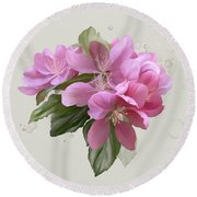 Pink Blossoms Round Beach Towel