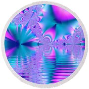 Pink, Blue And Turquoise Fractal Lake Round Beach Towel